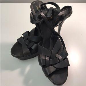 Yves Saint Laurent Shoes - Yves Saint Laurent Black Leather Tribute Sandals