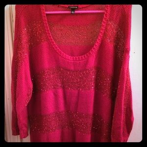 Torrid Size 2 Red Sequin 3/4 sleeve sweater