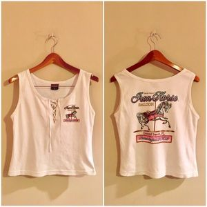 Vintage Lace Up Cropped Carousel Tank Top