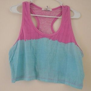 Us Angels Tops - Baby blue and pink summer crop top