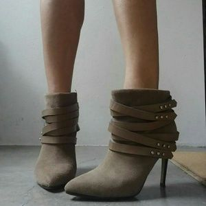 Joe's taupe strappy leather suede stiletto bootie