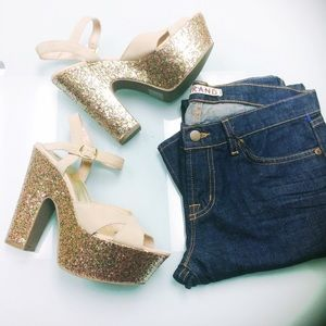 Urban Outfitters Shoes - NWOT Kimchi Blue Blush Suede Glitter Platforms