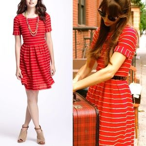 Anthropologie Scalloped Stripes Dress by Bordeaux