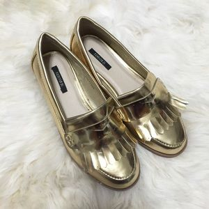 Forever 21 Shoes - Forever 21 Gold Faux Patent Leather Tassel Loafers