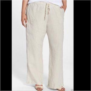 Allen Allen Pants - Allen Allen Linen Tan Drawstring Pants 1X