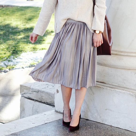 267eeb0c800 Charlotte Russe Dresses   Skirts - FINAL  Charlotte Russe  Silver Pleated  Midi Skirt