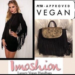Imoshion Handbags - 🆕Imoshion❤Black/Gold VeganFringe Leather Backpack