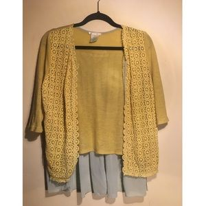 Blue and yellow cardigan