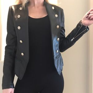 Military style faux leather Moto jacket