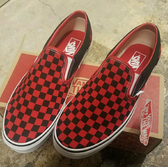 red and black checkerboard vans slip on