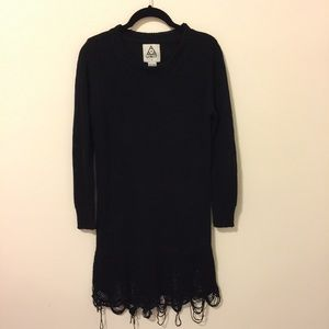 UNIF Sweaters - UNIF Black Distressed Destroyed Sweater Tunic