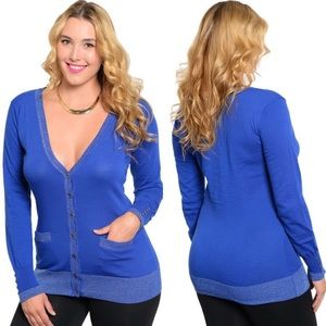 Boutique Sweaters - Plus Size Royal Blue Long Sleeve Cardigan Sweater