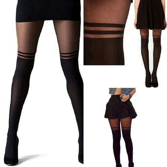 b93e994fad2 Mock Knee Thigh High Socks Stockings Tights Hose