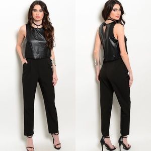 Boutique Pants - Sleeveless Faux Leather Bodice Work Black Jumpsuit