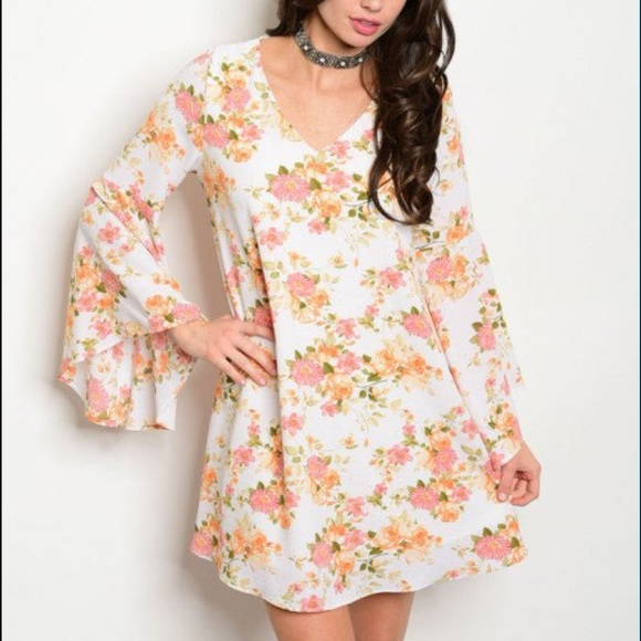 4a2d7668b37 Ivory Bell Sleeve Dress
