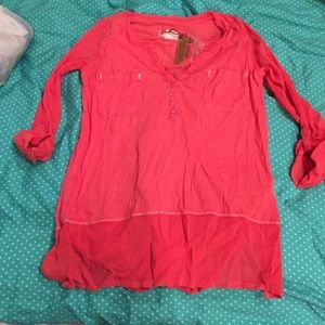 Anthropologie rose/red shirt
