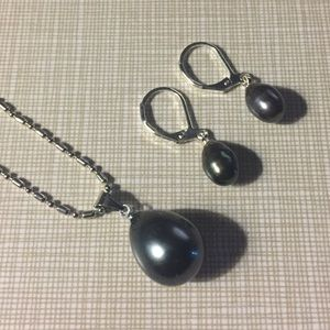 Jewelry - South sea black shell pearls set