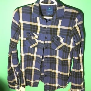 Black, Blue, and White Stripped Flannel