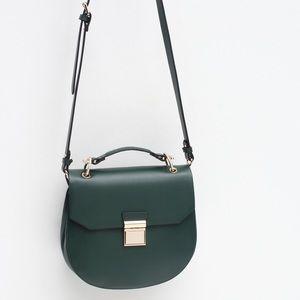 Zara Handbags - Zara Oval Crossbody Messenger Dark Green