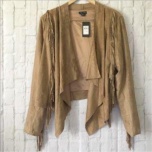 City Chic Jackets & Blazers - NEW LAST ONE 20 plus faux suede fringe jacket