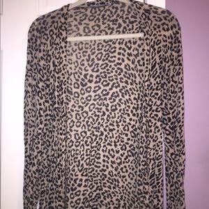 Women's leopard print open cardigan