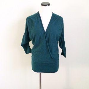 LOFT Sweaters - Ann Taylor LOFT Green faux Wrap Sweater