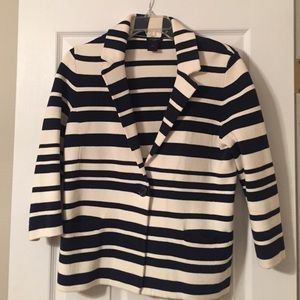 Navy & White Striped Blazer