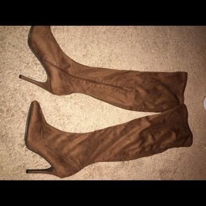 Shoes - Over the knee brown boots