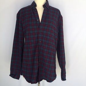 J. Crew Tops - J. Crew blue and purple plaid button down top