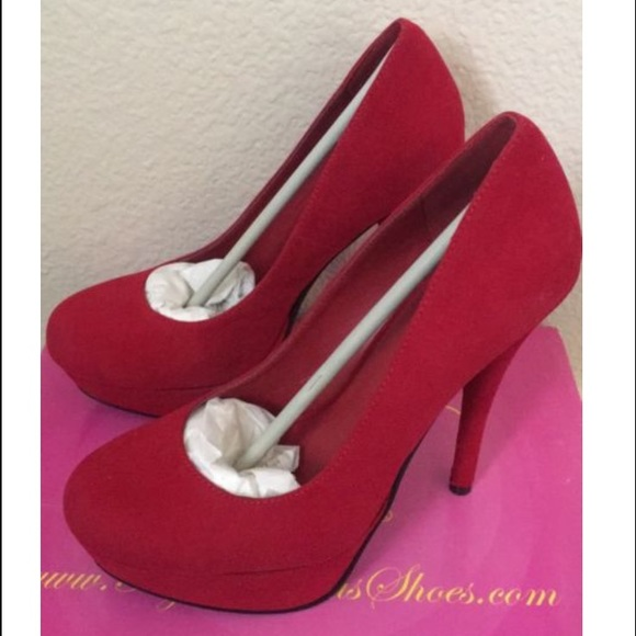 d87f0e98037d My Delicious Shoes - My Delicious Jones-H Red Faux Suede High Heels