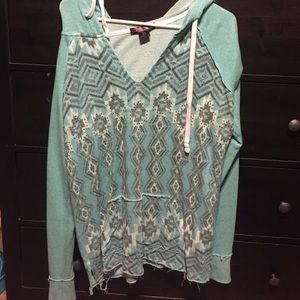 Rock & Roll Cowgirl Tops - Aztec print Terry Cloth Hoody