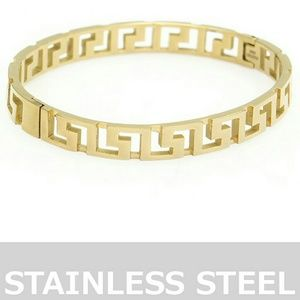 Jewelry - Spinner Maze Cut Out Stainless Steel Hinged Bangle