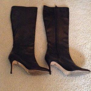Manolo Blahnik Shoes - Manolo Blanik Black leather Knee high boots 7.5