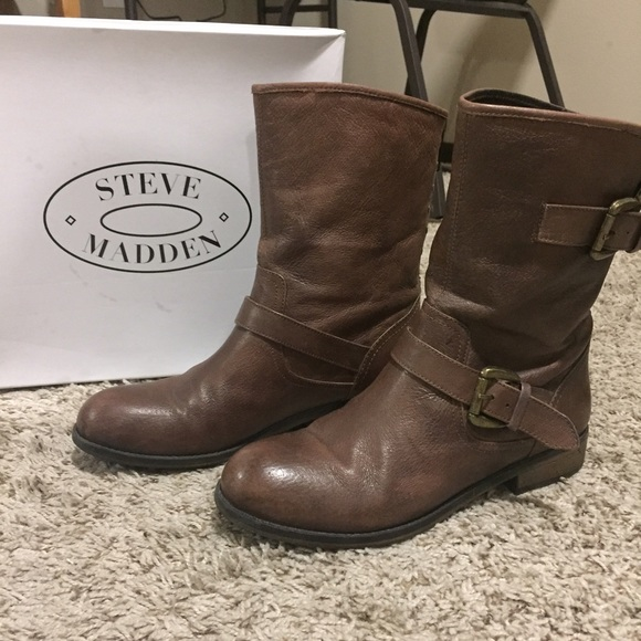 online for sale enjoy free shipping women Steve Madden Short Brown Boots Red Zipper