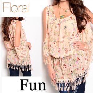 Tops - Floral Cold Shoulder Tunic