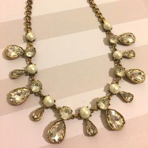 J. Crew Crystal & Pearl Teardrop Necklace