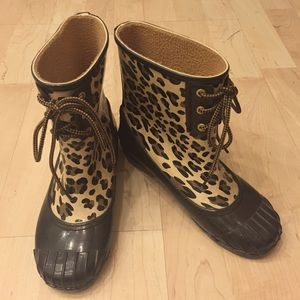 NWOT Sperry Leopard Ankle Rainboots