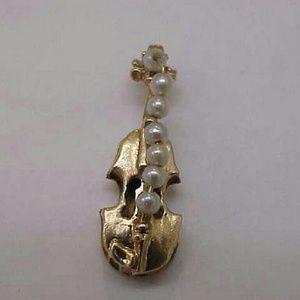 Other - Estate 14k gold pearls violin pendant charm 3d