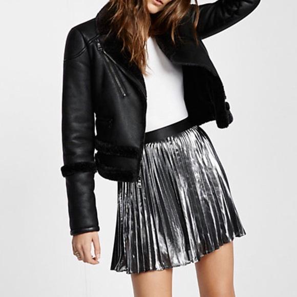 5e591a124a Express Dresses & Skirts - Express Metallic Pleated Mini Skirt
