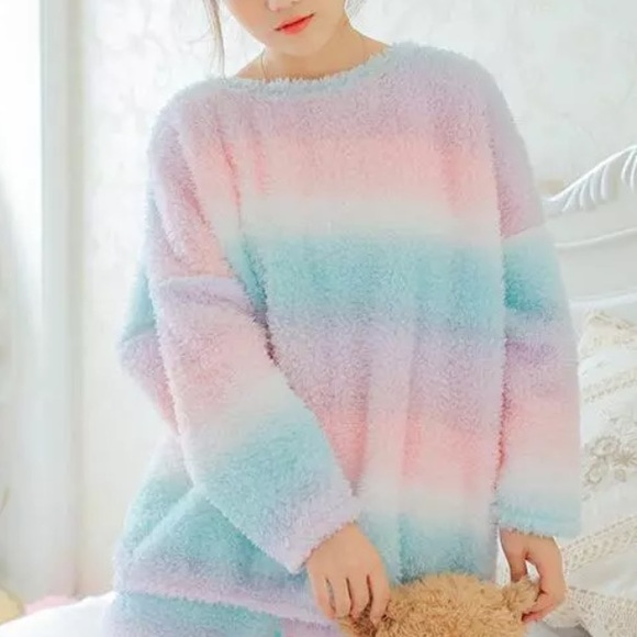 Other - Kawaii Pastel Rainbow Plush Winter Sleep Pajama