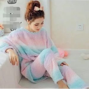 Intimates & Sleepwear - Kawaii Pastel Rainbow Plush Winter Sleep Pajama
