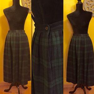 Vintage wool plaid midi skirt