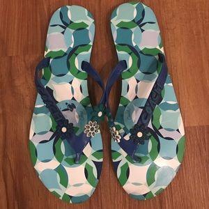 Coach Shoes - Coach Signature Blue Flip Flops