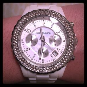 Michael Kors white watch with crystals