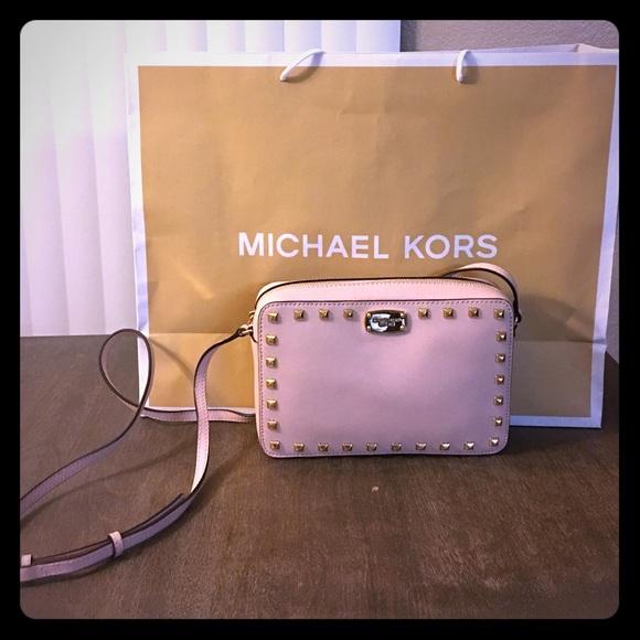 141a01fd95f8 Michael kors pink blush studded saffiano crossbody