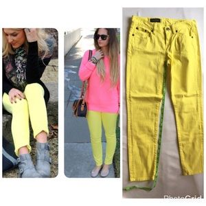 J crew toothpick ankle jeans highlighter yellow