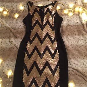 Black & Gold Sequin Bodycon Dress