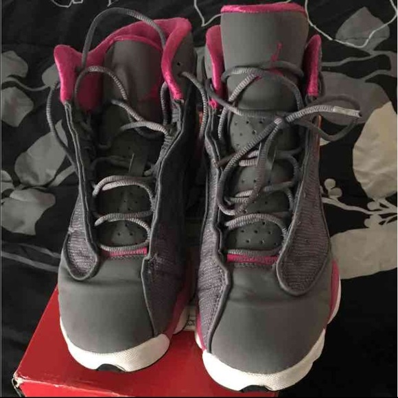 3111aa61be1d34 Jordan Shoes - Jordan 13 Retro Cool Grey Fusion Pink-White GS