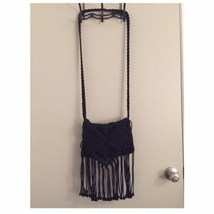 Black fringe Boho Purse