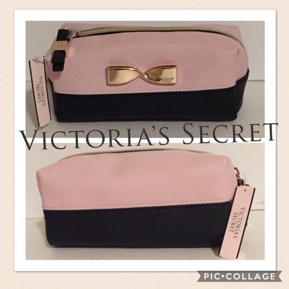 e0c438fb29c7 Victoria s Secret Cosmetic Bag pink black gold bow